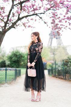 Black tulle dress near Tour Eiffel, Paris.