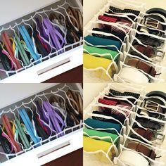 As várias utilidades das colmeias. Além de roupas íntimas elas podem ser usadas para organizar roupa de praia e ginástica, cintos e gravatas e até chilenos e rasteirinhas!