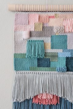 Handgewebter Wandteppich in verschiedenen Farben, Boho Wohndeko / colourful wall carpet in pastel colours, makramee made by wednesdayweaving via DaWanda.com