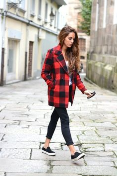 Pop on a buffalo check coat for an instant fall feel. Pair it with a striped top and leopard shoes for the ultimate street-chic look.