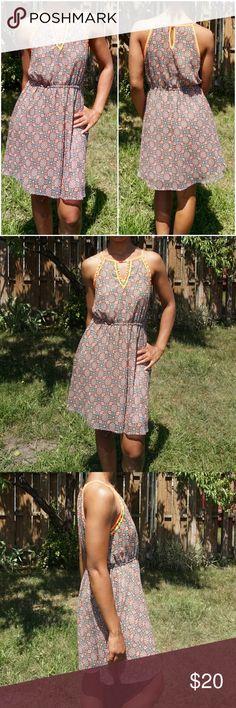 MYSTREE Studded Floral Print Summer Dress Floral Print - bright orange Neckline - Studded Neckline - 100% polyester Mystree Dresses Mini