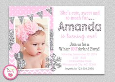 Winter Wonderland 1st Birthday Invitation  by The Trendy Butterfly