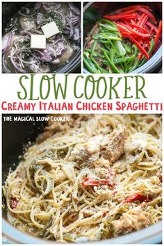 This Slow Cooker Creamy Italian Chicken Spaghetti is a take on Olive Garden's Chicken Scampi. Creamy Pasta and chicken with bell peppers and red onion. Chicken Spaghetti Recipes, Pasta Recipes, Chicken Recipes, Cooking Recipes, Crock Pot Cooking, Crockpot Meals, Creamy Italian Chicken, Slow Cooker Creamy Chicken, Slow Cooker Casserole