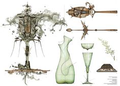 """""""Absynthia."""" by Dan Slavinsky  -Various contraptions for the consumption of absynthe in the basement bar 'The Bride of Denmark, After the Bachelors'"""