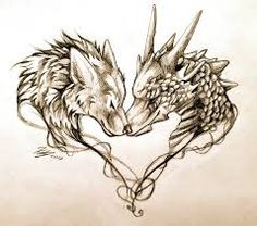 Dragon Tattoo Inspiration - I absolutely love this one! but why the wolf? hmm.