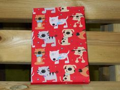 DOG - Fabric Notebook Cover - A6 - with notebook. Cute Colourful Dog print. STATIONERY - HANDMADE - Gift Idea - Novelty