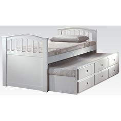 Acme Furniture San Marino Twin Bed W/Trundle and 3 Drawers - White Finish