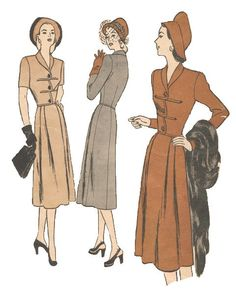 Sewing Pattern 1940s Vintage - Butterick 4273 - Size 14 - Bust 32 - Misses' One-Piece Dress With Basque Bodice