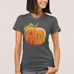 Happy Fall Yall Orange Pumpkin Motif T-Shirt - thanksgiving tshirts custom unique happy thanksgiving holiday celebrate