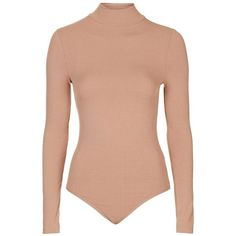 Women's Topshop Ribbed Funnel Neck Bodysuit ($32) ❤ liked on Polyvore featuring intimates and shapewear