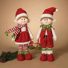 Gerson 23 in. Plush Elf Shelf Sitters - Set of 2 - Place this Gerson 23 in. Plush Elf Shelf Sitters - Set of 2 around your home to be Santa's eyes and ears this holiday season. Christmas Elf Doll, Christmas Gingerbread, Christmas Art, Handmade Christmas, Felt Christmas Decorations, Holiday Ornaments, Christmas Knitting Patterns, Elf On The Shelf, Winter