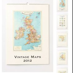 Vintage maps calendar from anthropology. Cut out and frame to make a gallery wall