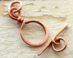 Solid Copper Toggle Clasp (16 gauge) - Reclaimed Wire Copper Clasp, Recycled, Hand Forged Findings
