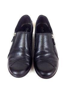 Clarks Shoes Leather PEBBLED Black Zip Side Comfort Wedge Booties Womens 8 M   eBay