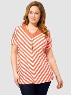 V-Neck Stripe Tunic In Coral Bliss by Lands'End,Available in sizes 0X-3X