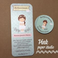 First Communion Favor Cards/ Bookmark / Baptism Girl / First Communion Favors, First Holy Communion, Ideas Bautismo, Ideas Para Fiestas, Pink Paper, Baby Cards, Doll Patterns, Christening, Party Time
