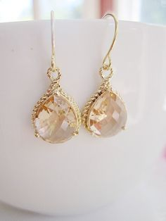 Pink Champagne Teardrop Earrings  Faceted Glass