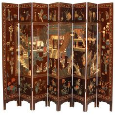 Antique Chinese Pagoda Coromandel Screens ($1,365) ❤ liked on Polyvore featuring home, home decor, panel screens, screens, pagoda tree, blossom tree, flower home decor, flower trees and bird home decor