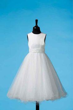 Plain, simple and elegant White Communion Dress - Full Circle Ruffle Edge Skirt - Koko - Caoilainn 80G03011 - New 2014