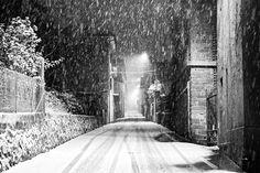 Street of Snowfall at Night by maxrastello