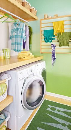 colorful laundry storage in small room