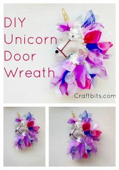 Unicorn Door Wreath Tutorial – Seasonal Christmas wreath tulle burlap wreath craft instructions how to make.