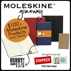 Enter to win the Moleskine Giveaway at livelaughrowe.com