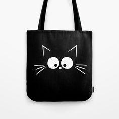 Cute Black Cat Tote Bag by momcilobjekovic Diy Embroidery Bags, Diy Tote Bag, Reusable Tote Bags, Painted Bags, Cute Black Cats, Bag Pattern Free, Cat Bag, Zipper Bags, Canvas Tote Bags