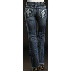 Rock & Roll Cowgirl Embroidered Tribal Cross Jeans - Mid Rise, Bootcut (For Women) in Med Wash