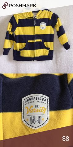 Carters infant boys fleece hoodie - 12m NEW Item is new. Smoke and pet free. Carters infant boys fleece hoodie. Size 12 months. Yellow and Navy in color. Carter's Jackets & Coats