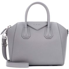 Givenchy Antigona Small Leather Tote (9.245 RON) ❤ liked on Polyvore featuring bags, handbags, tote bags, grey, givenchy tote, leather handbags, grey leather tote bag, genuine leather tote and grey tote