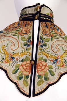Chinese Cloud Collar 1900s with silk and metallic embroidery featuring the moth | From a collection of rare vintage jackets at https://www.1stdibs.com/fashion/clothing/jackets/