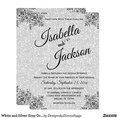 White and Silver Gray Ornate Design Invitation