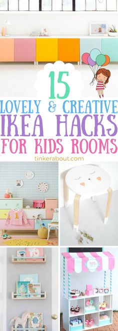 These 15 Ikea Kids Hacks are the CUTEST! Style your kids bedroom or your kids playroom on a budget with these Ikea hacks for kids. Click through to see them all, I'm sure you will find an ikea hack you like! #diyikeahack #ikeahacks #kidsroom #ikeahackskids