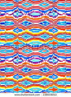 seamless ikat pattern in bold colors on white background. - stock photo