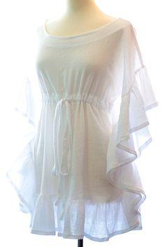 White Ruffle Mini Caftan - Beach Cover Up Dress by Mademoiselle Mermaid. Kaftan Designs, Kurta Designs Women, Blouse Designs, Stylish Dress Designs, Designs For Dresses, Stylish Dresses, White Dress Summer, Summer Dresses, Beach Dresses