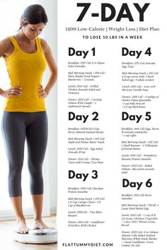 1200 calorie weight loss diet plan to lose 10 lbs in a week. Are you looki… 1200 calorie weight loss diet plan to lose 10 lbs in a week. Are you looking for a 1 week diet plan to lose weight and slim down in one week? This low-calorie diet meal plan is. Weight Loss Meals, Diet Food To Lose Weight, Weight Loss Drinks, Diet Plans To Lose Weight, Ways To Lose Weight, Weight Gain, How To Lose Weight In A Week, Losing Weight Tips, Quick Weight Loss Diet