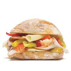 Turkey Sandwich With Provolone and Pickled Vegetables Recipe Lunch and Snacks with Ciabatta rolls, olive oil, roast turkey, giardiniera, provolone cheese