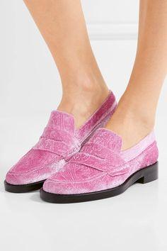 Heel measures approximately 30mm/ 1 inch Pink velvet Slip on As seen in The EDIT magazine