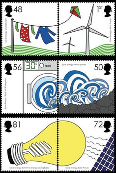 Set of stamps designed to promote energy efficiency and alternative energies