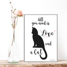 Affiche citation et chat, Affiche noir et blanc, Cats lovers, Affiche citation, Affiche chat, Décoration murale, Cadeau amoureux des chats par MonRosePompon sur Etsy https://www.etsy.com/fr/listing/490389270/affiche-citation-et-chat-affiche-noir-et