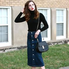 Alexa Chung for AG Denim Midi Skirt #Anthropologie #MyAnthroPhoto