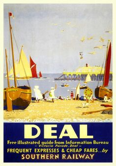Inch Print (other products available) - Poster produced for the Southern Railway (SR) to promote the coastal resort of Deal, in Kent. The artwork is by Sir Herbert Alker Tripp.<br> - Image supplied by National Railway Museum - print made in the UK Train Posters, Railway Posters, National Railway Museum, Fine Art Prints, Canvas Prints, Seaside Beach, Beach Art, Miami Beach, Southern Railways