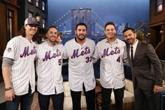 Members of the New York Mets, Jacob deGrom, David Wright, Matt Harvey, and Wilmer Flores with Jimmy Kimmel, on the  'Jimmy Kimmel Live'  show Friday. Oct. 23, 2015.