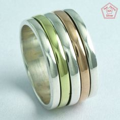 Classic Look Design !! 925 Sterling Silver Spinner Ring R5170, Sz. 8.5 US #SilvexImagesIndiaPvtLtd #Spinner #AllOccasions