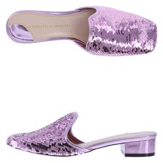 """Be dazzling in this straight-from-the-runway sequin mule from designer Christian Siriano! This limited edition style features a metallic upper with sequins, square toe, smooth lining, padded footbed, 1 1/4"""" wrapped heel, and a durable outsole. Manmade materials."""