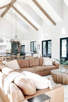 18 Vaulted Ceiling Designs That Deserve Your Attention Modern Farmhouse Living Room Attention ceiling Deserve Designs Vaulted Home Living Room, Living Room Decor, Open Living Rooms, Fresh Living Room, Kitchen Living, Living Room Furniture, Bedroom Decor, Build Your Own House, Living Room Inspiration