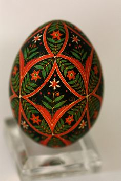 Batik egg by Katy David. Red and green colors with poinsettia-like flowers; good for Christmas.