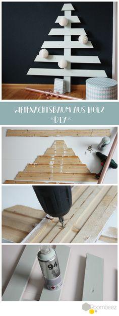 Schicker, moderner Weihnachtsbaum! So hat man auf jeden Fall nicht das ewige Nadel-Problem ➩ Auf Roombeez findet Ihr die vollständige Anleitung!
