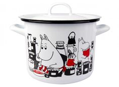 This white pot features characters from the Moominvalley. The pot is suitable for use in the kitchen. The enamel surface is extremely durable. Moomin Shop, Induction Stove, White Pot, Tove Jansson, Kitchen Items, Kitchen Stuff, Kitchen Gadgets, Plates And Bowls, Lassi